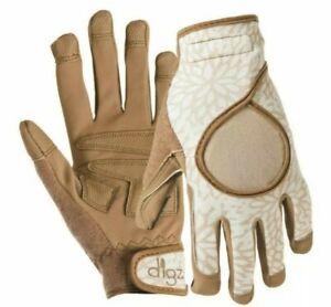 Ladies Garden Gloves One Pair Digz Signature Beige Brown Machine Wash Large L