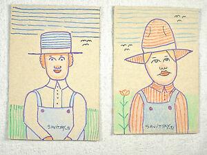 2 Folk / Outsider Art Paintings by Jack Savitsky '91- FARMERS