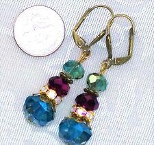 "Green Purple Blue Aurora Borealis Crystal Gold Bronze Earrings 2"""