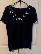Evan-Picone Womens Navy Blue Knit Sweater Short Sleeve V-Neck Top Shell Trimmed