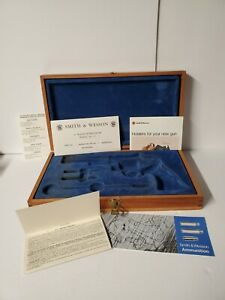 """Vintage Smith and Wesson Wood Presentation Case with Inserts for 6"""" Revolver"""