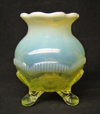 WHIMSEY!!  Vaseline Opalescent   ** WREATH & SHELL **   LADY'S SPITTOON!!