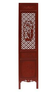 Chinese Red Geometric Flower Bird Accent Narrow Floor Panel Headboard cs3569