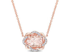 Amour Morganite and Diamond Halo Necklace in 10k Rose Gold