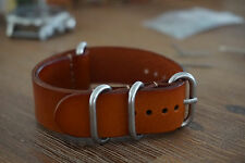 22mm Genuine Leather Zulu Style Watch Strap - Brown - Free Postage