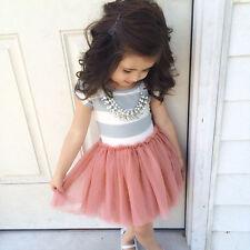 niño niña manga corta rayas Tul Vestido Con Tutú Fiesta Casual Vestido De Verano
