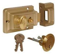 Standard Champagne Brass Front Door Lock Nightlatch Night Latch 60mm Backset