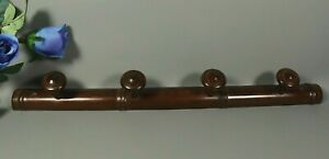 Antique French Faux Bamboo 4 Hook Wooden Wall Coat Rack Hat Hall Tree