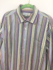 Linea Dome Chemise L Large Mens 16&1/2 Cotton Colorful Stripe Shirt French Cuffs