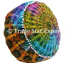 Indian Tie Dye Ottoman Pouf Cover Seating Pouffe Case Large Footstool Pouf Cover