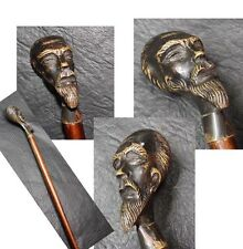 Very interesting rare old bronze head Don Quixote cane walking stick 87 cm