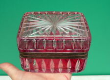 Antique Cranberry Cut to Clear Bohemian Glass Trinket Jewelry Casket hinged Box