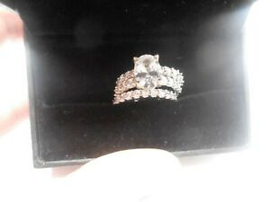 WHITE GOLD PLATE 3CTW CZ WEDDING RING BAND SIZE 7