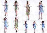 Sarong Beach Wear Indian Hand Block Print Swimwear Dress Bikini Cover Up Summer