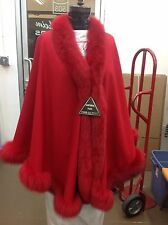 GORGEOUS RED 100% CASHMERE FULL SKIN FOX SWING CAPE CAPE COAT SHAWL WRAP NEW