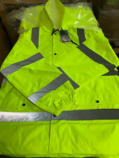 Walls Hi Vis Ansi 3 Safety Rain Jacket Large Reflective Material Type R Class 3
