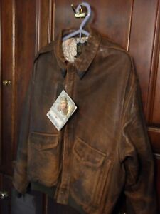 RARE WITH TAGS 1987 AVIREX A-2 Brown Leather Flight Bomber Jacket Map XL