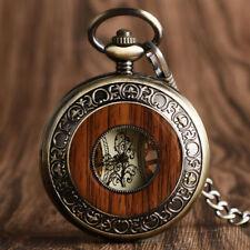 Luxury Bronze Wood Circle Hand-winding Mechanical Roman Nnumeral Pocket Watch