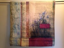 Asian Fusion Blue Iris Bamboo contemporary floral art Tapestry Wall Hanging NEW