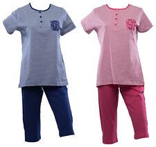 Womens Jersey Cotton Striped PJs Set Ladies Short Sleeve Top 3/4 Bottoms Pyjamas