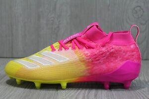 57 Adidas Adizero 8.0 SK Shock Pink Yellow Mens 8.5 10 Football Cleats F35078