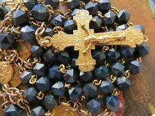 Rare 1900s Antique 'Natural Gemstone' Lapiz Lazuli Rosary-Hallmarked/Goldplated