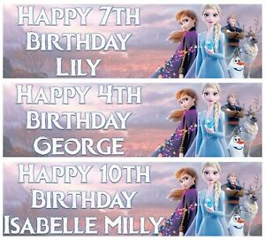 2 x Personalised FROZEN 2 Birthday Banner ANY NAME, ANY AGE