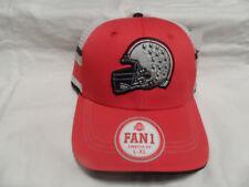 NCAA OSU BUCKEYES HAT CAP RED WITH GRAY HELMET WITH LEAVES RAISED FAN1 SZ L-XL