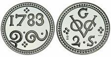 Zilveren Proof replica -  2 Stuiver galle 1783  .925 zilver, 31,1 gram