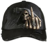 Spiral BONE FINGER Baseball Caps Distressed with Metal Claps/Biker/Grim Reaper