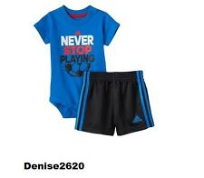 """Baby Boy Adidas """"Never Stop Playing """" Tee & Shorts Set Size 6 Months NWT"""