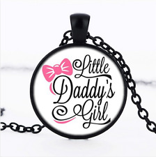 daddy's little girl Photo Cabochon Glass Black Pendant Necklace