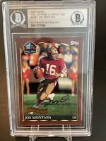 49ers Joe Montana  Signed 2000 Topps Hall Of Fame Class #HOF1 Card BAS Slabbed