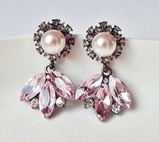 Perlen Ohrhänger Ohrringe Vintage Strass Blüte floral rosa weiß klar