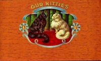 Our Kitties Cigar Box Label Unused Embossed Lithograph Tobacco Cat CBL1L