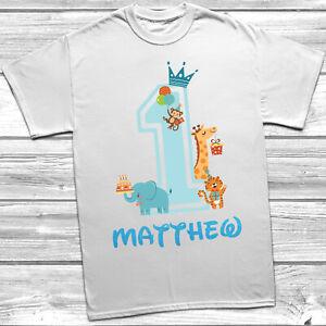 Personalised 1st Birthday T-Shirt Boys Animal Theme Party Bday Design Glitter