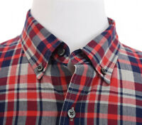 J Crew Mens Slim Fit Button Down Shirt Hillside Poppy Plaid Red Blue Sz Large