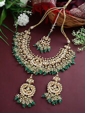 Indian Traditional Bollywood Style Gold Plated Pachi Kundan Real Choker Necklace