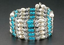 Magnetic Pearl Bracelet Necklace Bead Wrap Therapy Blue Crystal Free Shipping