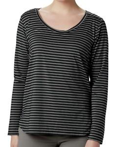 Columbia Women's Firwood Camp Long Sleeve Tee Black Striped XL NWT $50