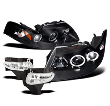 1999-2004 FORD MUSTANG BLACK HALO PROJECTOR HEADLIGHTS+DRIVING FOG LAMP NEW PAIR