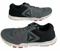 Reebok Mens Yourflex Train 9.0 MT Shoes Gray BS8026 Lace Up Low Top Mesh 13 M
