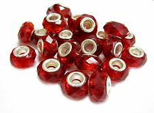 European Beads Charm Red Large Hole Facets 15x10 mm DIY Making lot 10 pc Garnet