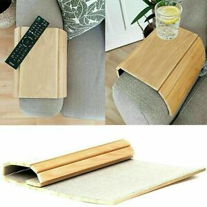 Wooden Sofa Arm Rest Chair Flexible Media Snack Serving Tray Organiser Table New