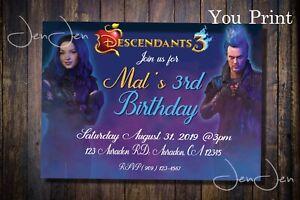 Disney Descendants 3 Mal and Hades Party Invitation (You Print)