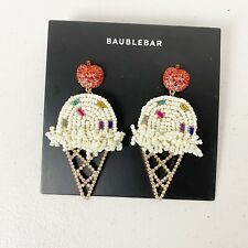 Baublebar Beaded Vanilla Ice Cream Cone Cherry Earrings Nwot Anthropologie