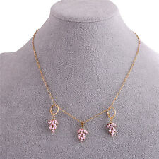 Women's Fashion Jewelry Set Gold Plated Rhinestone Leaf Earring Pendant Necklace