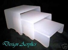 FROSTED WHITE ACRYLIC DISPLAY STANDS RISERS SET OF 3