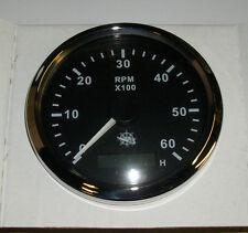 Drehzahlmesser 85 mm  Diesel/ Benzin 0-6000 RMP Schwarz Blende Poliert 27.326.03