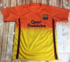 Men's Football Short Sleeve Qatar Foundation Orange Messi 10 T-Shirt FCB Medium
